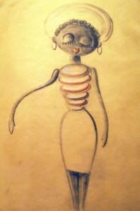 """Scan einer Entwurfszeichnung der Figur """"Lizzie"""" aus """"A Trumpet for Nap""""; ca. 1959"""