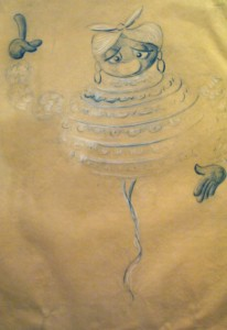 """Scan einer Entwurfszeichnung der Figur """"Tante Rebecca"""" aus """"A Trumpet for Nap""""; ca. 1959"""