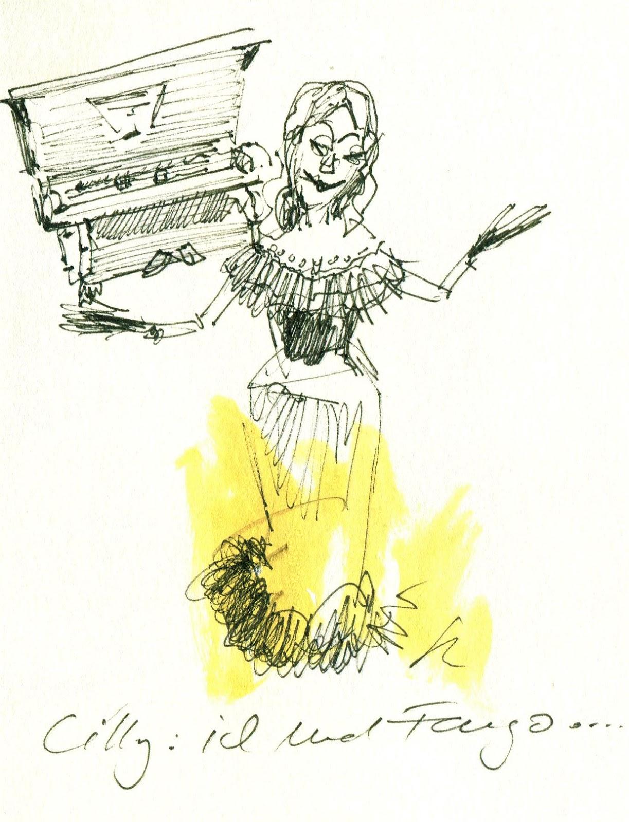 Lilly am Klavier (© Gisela Knuth / Urban Sketchers Munich)