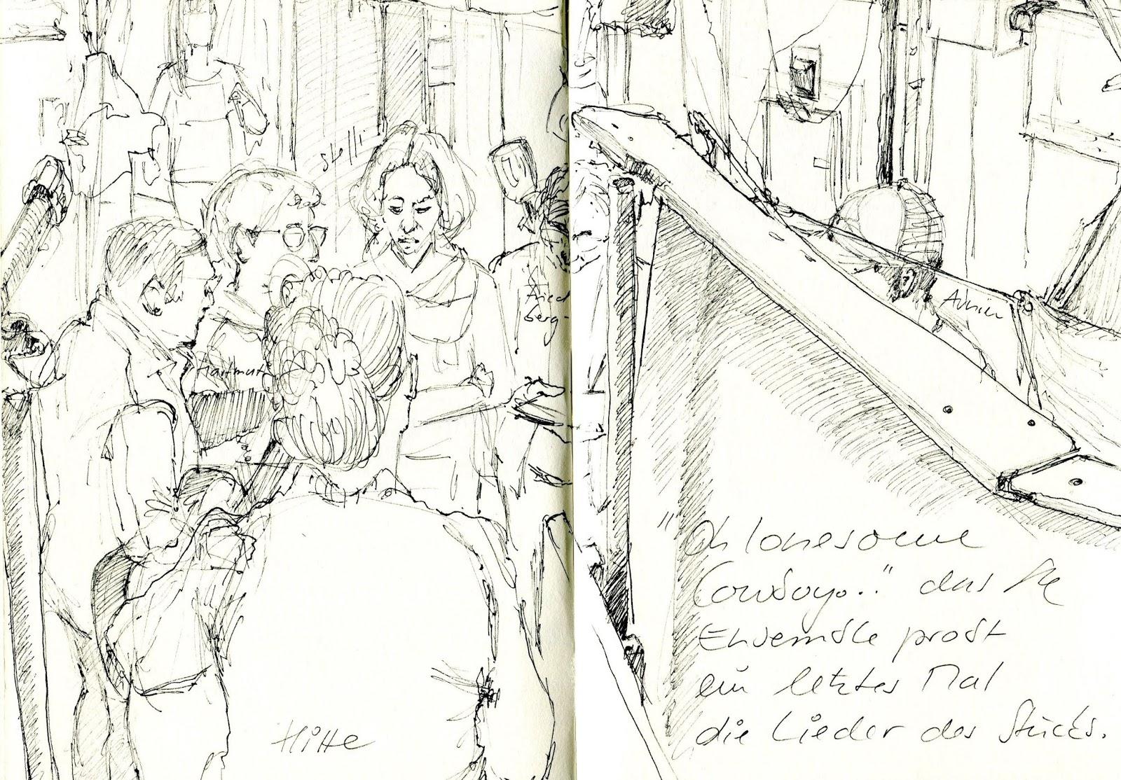 Gesangsprobe (© Gisela Knuth / Urban Sketchers Munich)